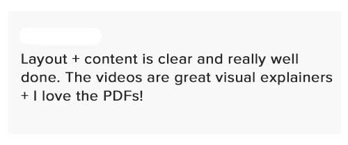 Elevate Her Marketing testimonial saying the layout and content are clear and well done